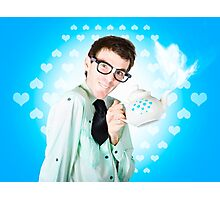 Romantic male dork offering coffee LOVE to date Photographic Print