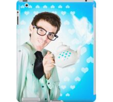 Romantic male dork offering coffee LOVE to date iPad Case/Skin