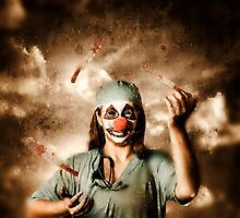 Evil surgeon clown juggling bloody knives outside by Ryan Jorgensen