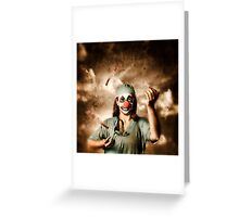 Evil surgeon clown juggling bloody knives outside Greeting Card