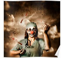 Evil surgeon clown juggling bloody knives outside Poster