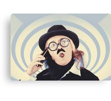 Vintage futurist using phone on time warp backdrop Canvas Print