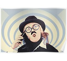 Vintage futurist using phone on time warp backdrop Poster