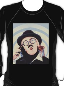 Vintage futurist using phone on time warp backdrop T-Shirt