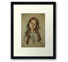 Girl with Green Framed Print