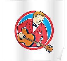 Musician Guitarist Playing Guitar Circle Cartoon Poster