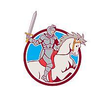 Knight Riding Horse Sword Circle Cartoon Photographic Print