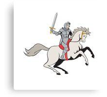 Knight Riding Horse Sword Cartoon Canvas Print