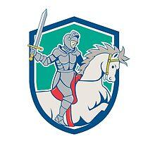 Knight Riding Horse Sword Cartoon by patrimonio