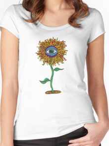 Psychedelic Sunflower - Exciting New Art - Doona is my favourite! Women's Fitted Scoop T-Shirt