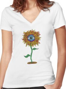 Psychedelic Sunflower - Exciting New Art - Doona is my favourite! Women's Fitted V-Neck T-Shirt
