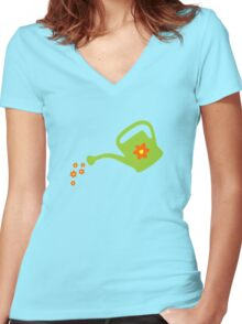 Watering Can Watering Flowers (Light Green) Women's Fitted V-Neck T-Shirt