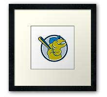 Trout Fish Baseball Batting Circle Cartoon Framed Print