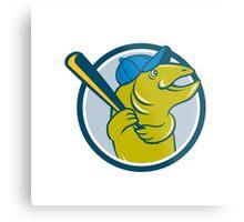 Trout Fish Baseball Batting Circle Cartoon Metal Print