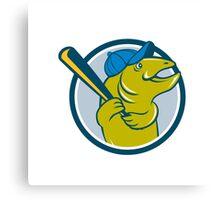 Trout Fish Baseball Batting Circle Cartoon Canvas Print