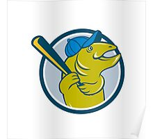 Trout Fish Baseball Batting Circle Cartoon Poster