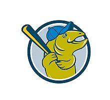 Trout Fish Baseball Batting Circle Cartoon Photographic Print