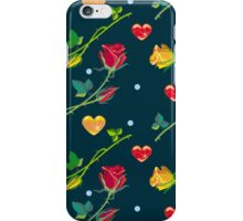 Roses and hearts on a dark background iPhone Case/Skin
