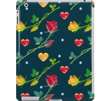 Roses and hearts on a dark background iPad Case/Skin