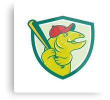 Trout Fish Baseball Batting Shield Cartoon Metal Print