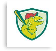 Trout Fish Baseball Batting Shield Cartoon Canvas Print
