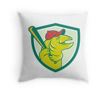 Trout Fish Baseball Batting Shield Cartoon Throw Pillow