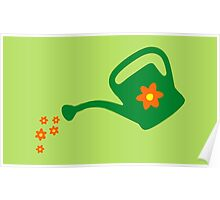 Watering Can Watering Flowers Poster