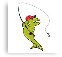 Trout Fly Fishing Rod Hook Cartoon Canvas Print