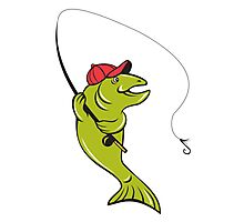 Trout Fly Fishing Rod Hook Cartoon Photographic Print