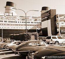 UK Route 66 Jaguar Enthusiast cars & drivers take rest at the best; Queen Mary, Long Beach, CA USA by leih2008