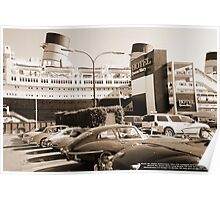 UK Route 66 Jaguar Enthusiast cars & drivers take rest at the best; Queen Mary, Long Beach, CA USA Poster