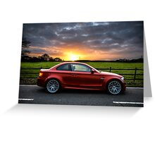 BMW 1 Series M Coupe Stormy Sunset Greeting Card