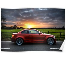 BMW 1 Series M Coupe Stormy Sunset Poster