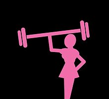 Woman shape in pink lifting weights by jazzydevil