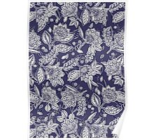 Decorative Floral Doodle Pattern in Navy Poster