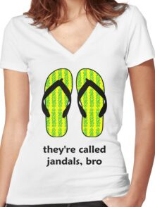 Jandals Bro Women's Fitted V-Neck T-Shirt