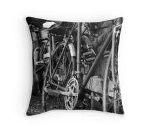 Bike Fence Throw Pillow