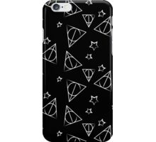 White on Black Deathly Hallows and Stars Pattern iPhone Case/Skin