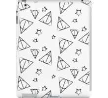 Black on White Deathly Hallows and Stars Pattern iPad Case/Skin