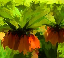 Showy Orange Crown Imperial Flowers - Impressions Of Spring by Georgia Mizuleva