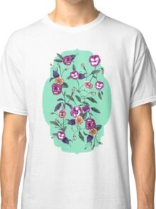 Pansy and Vines in Purple on Mint Classic T-Shirt