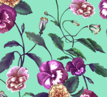 Pansy and Vines in Purple on Mint Sticker