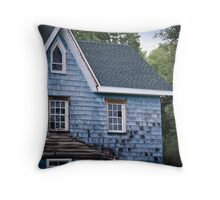Abandoned Old Blue House Throw Pillow