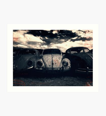The Three Amigos: VW Beetle Graveyard, Wales, UK Art Print