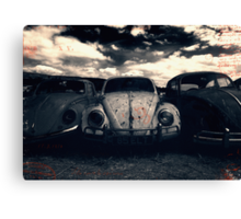 The Three Amigos: VW Beetle Graveyard, Wales, UK Canvas Print