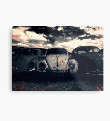 The Three Amigos: VW Beetle Graveyard, Wales, UK Metal Print