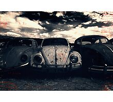 The Three Amigos: VW Beetle Graveyard, Wales, UK Photographic Print