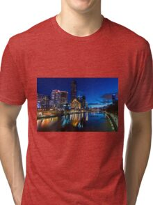 Melbourne Southgate at night Tri-blend T-Shirt