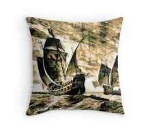 Columbus' ships - The Santa Maria, Nina and Pinta - all products Throw Pillow