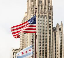 American and Chicago Flags by dbvirago